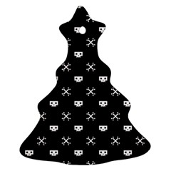 White Pixel Skull Pirate Christmas Tree Ornament (two Sides) by jumpercat