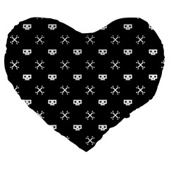 White Pixel Skull Pirate Large 19  Premium Heart Shape Cushions by jumpercat