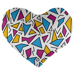 Retro Shapes 01 Large 19  Premium Heart Shape Cushions by jumpercat