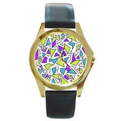 Retro Shapes 02 Round Gold Metal Watch by jumpercat