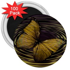 Butterfly Insect Wave Concentric 3  Magnets (100 Pack) by Celenk