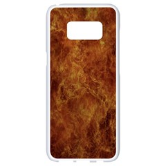 Abstract Flames Fire Hot Samsung Galaxy S8 White Seamless Case by Celenk