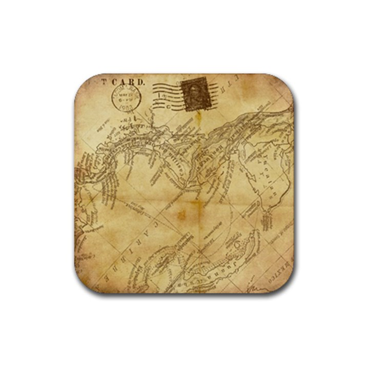 Vintage Map Background Paper Rubber Coaster (Square)