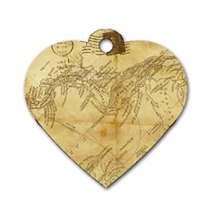 Vintage Map Background Paper Dog Tag Heart (two Sides) by Celenk
