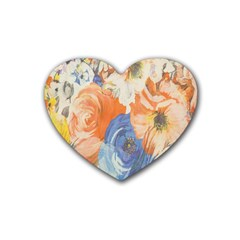 Texture Fabric Textile Detail Heart Coaster (4 Pack)  by Celenk