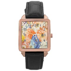 Texture Fabric Textile Detail Rose Gold Leather Watch  by Celenk