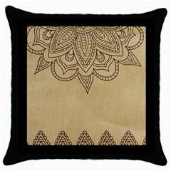 Vintage Background Paper Mandala Throw Pillow Case (black) by Celenk