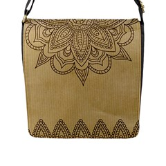 Vintage Background Paper Mandala Flap Messenger Bag (l)  by Celenk