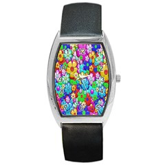 Flowers Ornament Decoration Barrel Style Metal Watch by Celenk