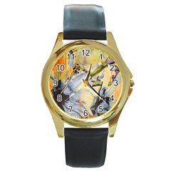 Flower Texture Pattern Fabric Round Gold Metal Watch by Celenk