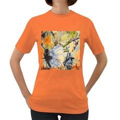 Flower Texture Pattern Fabric Women s Dark T Shirt
