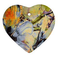 Flower Texture Pattern Fabric Heart Ornament (two Sides)