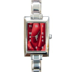 Red Fabric Textile Macro Detail Rectangle Italian Charm Watch by Celenk