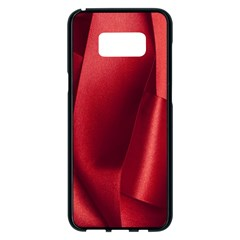 Red Fabric Textile Macro Detail Samsung Galaxy S8 Plus Black Seamless Case by Celenk