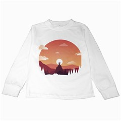 Design Art Hill Hut Landscape Kids Long Sleeve T Shirts