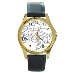 Brain Chart Diagram Face Fringe Round Gold Metal Watch by Celenk