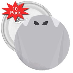 Ghost Halloween Spooky Horror Fear 3  Buttons (10 Pack)  by Celenk