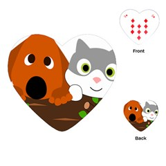 Baby Decoration Cat Dog Stuff Playing Cards (heart)  by Celenk