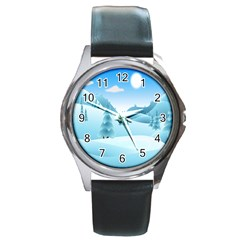 Landscape Winter Ice Cold Xmas Round Metal Watch by Celenk