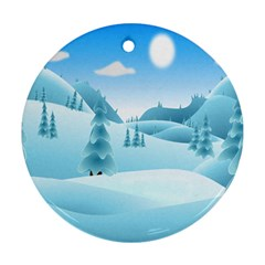 Landscape Winter Ice Cold Xmas Ornament (round) by Celenk