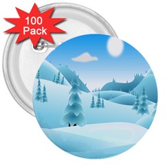 Landscape Winter Ice Cold Xmas 3  Buttons (100 Pack)  by Celenk