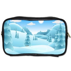 Landscape Winter Ice Cold Xmas Toiletries Bags 2 Side