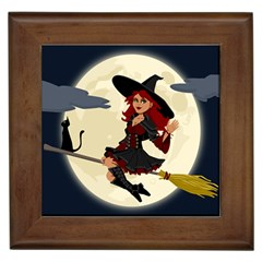 Witch Witchcraft Broomstick Broom Framed Tiles by Celenk