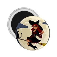 Witch Witchcraft Broomstick Broom 2 25  Magnets by Celenk