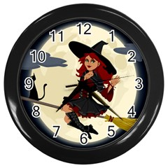 Witch Witchcraft Broomstick Broom Wall Clocks (black) by Celenk