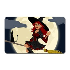 Witch Witchcraft Broomstick Broom Magnet (rectangular) by Celenk