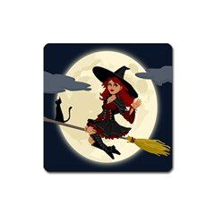 Witch Witchcraft Broomstick Broom Square Magnet by Celenk