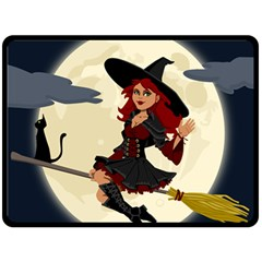 Witch Witchcraft Broomstick Broom Double Sided Fleece Blanket (large)  by Celenk