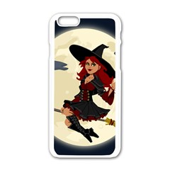 Witch Witchcraft Broomstick Broom Apple Iphone 6/6s White Enamel Case by Celenk