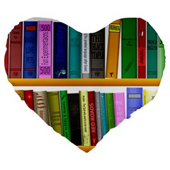 Shelf Books Library Reading Large 19  Premium Flano Heart Shape Cushions by Celenk