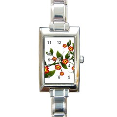 Flower Branch Nature Leaves Plant Rectangle Italian Charm Watch by Celenk
