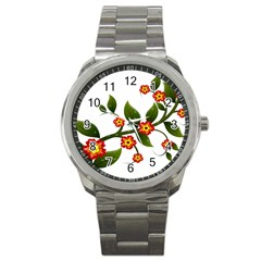 Flower Branch Nature Leaves Plant Sport Metal Watch by Celenk