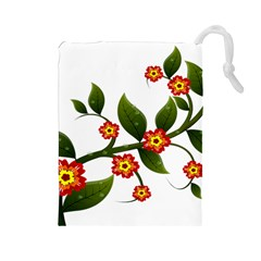Flower Branch Nature Leaves Plant Drawstring Pouches (large)  by Celenk