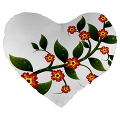 Flower Branch Nature Leaves Plant Large 19  Premium Flano Heart Shape Cushions by Celenk