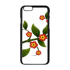 Flower Branch Nature Leaves Plant Apple Iphone 6/6s Black Enamel Case by Celenk