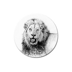 Lion Wildlife Art And Illustration Pencil Magnet 3  (round) by Celenk