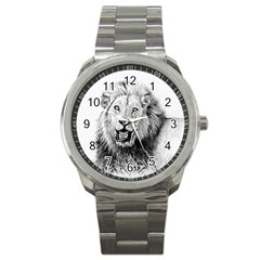 Lion Wildlife Art And Illustration Pencil Sport Metal Watch by Celenk