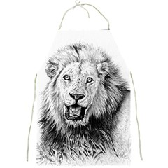 Lion Wildlife Art And Illustration Pencil Full Print Aprons by Celenk