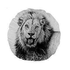 Lion Wildlife Art And Illustration Pencil Standard 15  Premium Round Cushions by Celenk