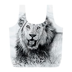 Lion Wildlife Art And Illustration Pencil Full Print Recycle Bags (l)  by Celenk