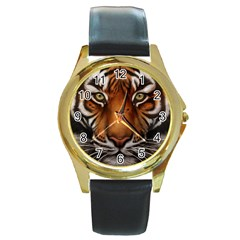 The Tiger Face Round Gold Metal Watch by Celenk
