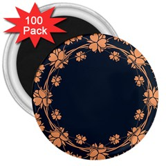 Floral Vintage Royal Frame Pattern 3  Magnets (100 Pack) by Celenk