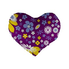 Floral Flowers Standard 16  Premium Flano Heart Shape Cushions by Celenk