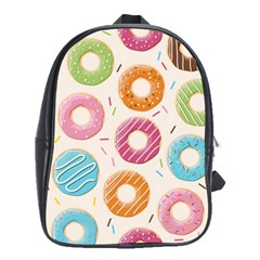 Colored Doughnuts Pattern School Bag (xl) by allthingseveryday
