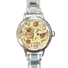 Colored Afternoon Tea Pattern Round Italian Charm Watch by allthingseveryday