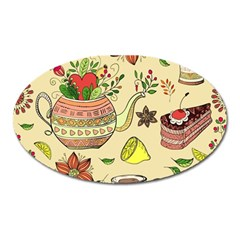 Colored Afternoon Tea Pattern Oval Magnet by allthingseveryday